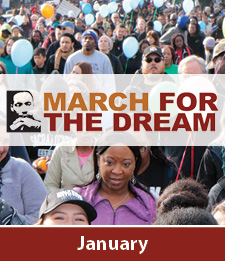 Martin Luther King Jr. March for the Dream logo with Jan underneath