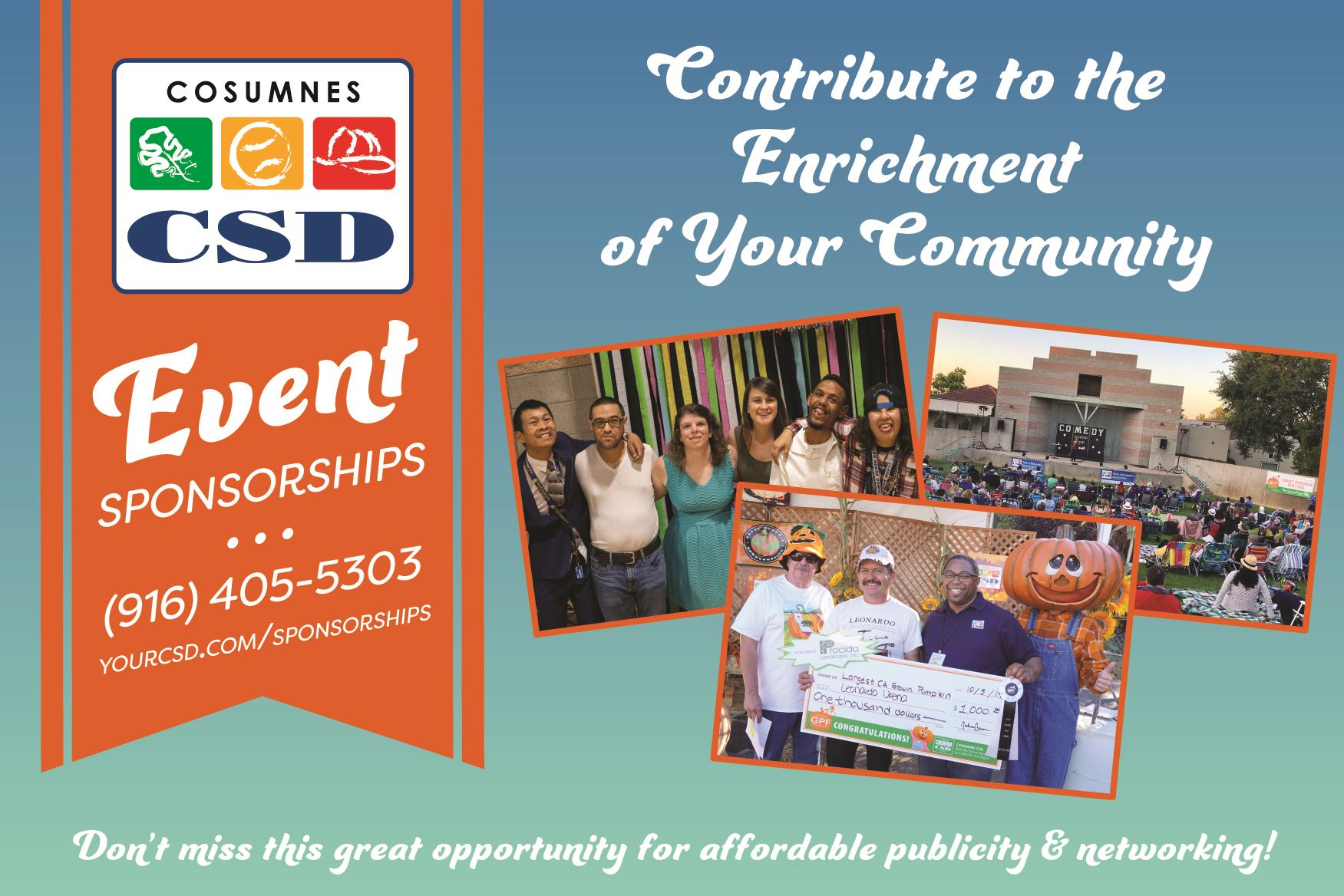 Event Sponsorships banner with photos of Recreation Adventures, Giant Pumpkin Festival, and Comedy U