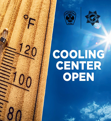 Thermometer in hot sun with text, Cooling Center Open