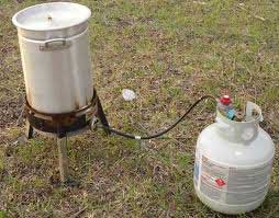 A propane turkey frying station.