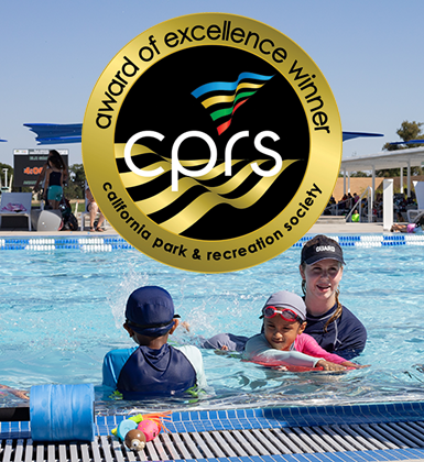 Photo of swim lessons with CPRS Award seal
