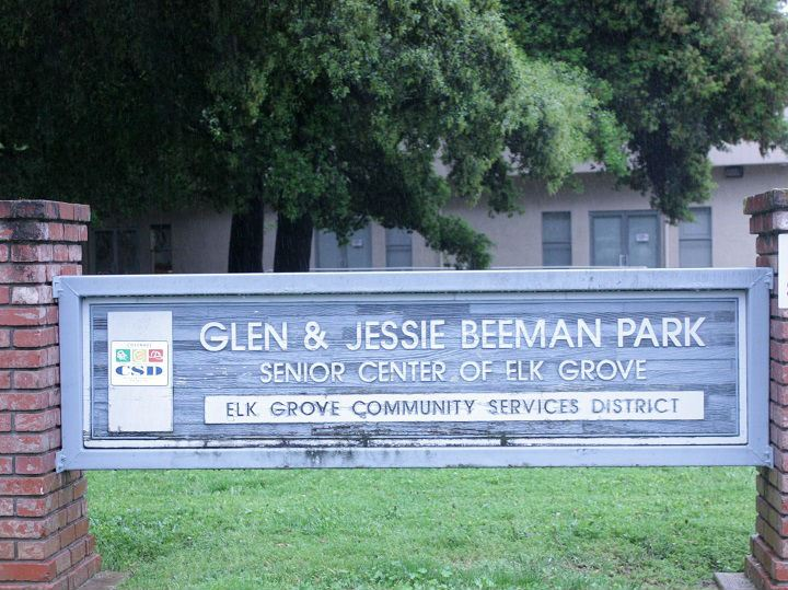 Glen and Jessie Beeman Park wood sign with brick columns