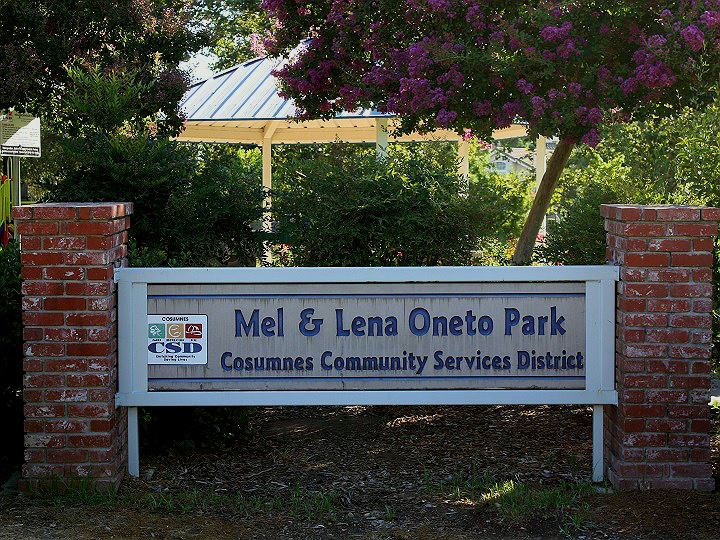 Park Sign with pink flowering tree and brick pillars