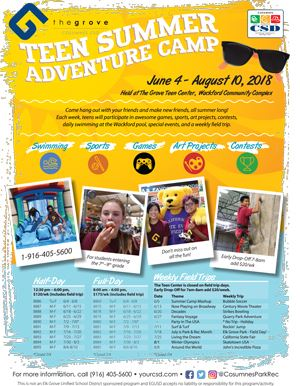 2018 Teen Summer Adventure Camp Flier