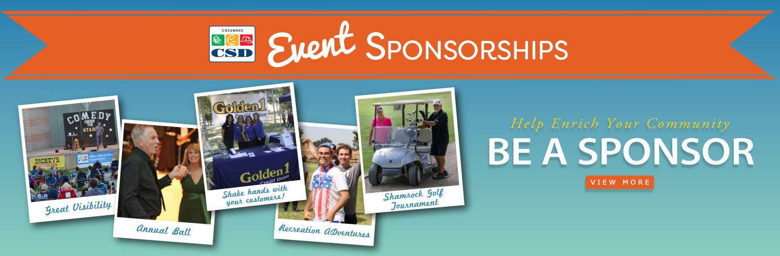 A banner graphic that shows individual pictures of sponsors at local events.