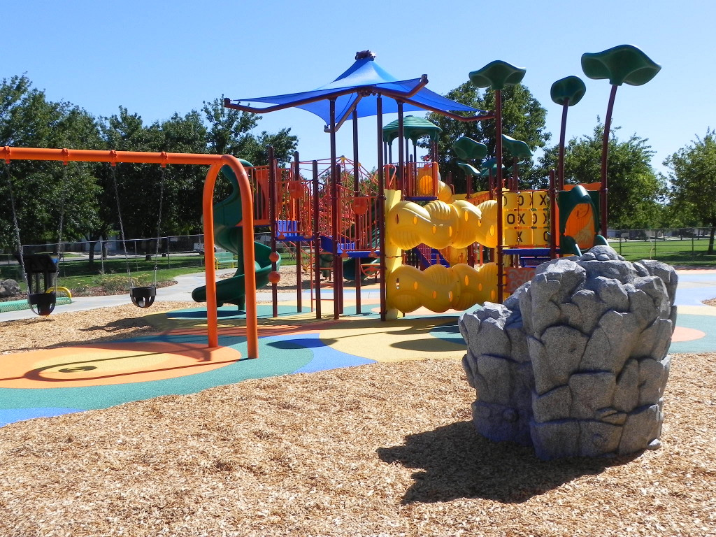 Bright colors of play equipment